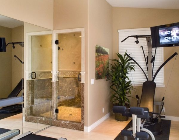View In Gallery Home Gym Is Another Place Where The Steam Bath Comes In  Handy!