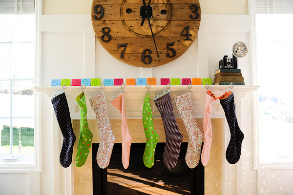 Homemade stockings in various colors