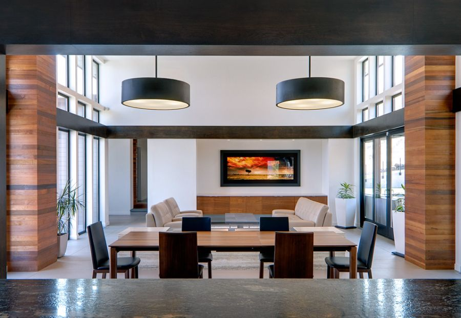 Interior with large black drum pendants Contemporary Richland Villa Offers Stunning Views Of Surrounding Landscape