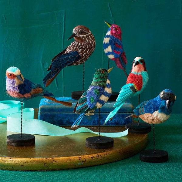 Jewel-toned sisal birds