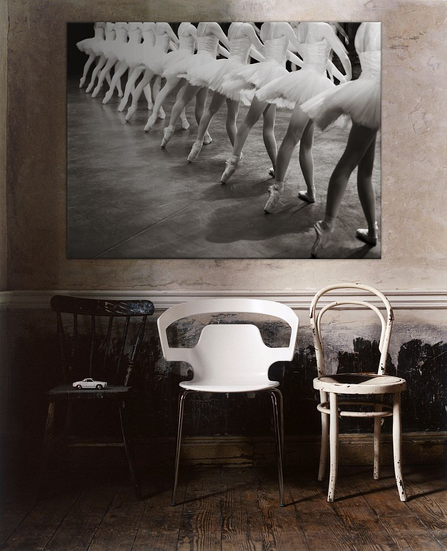 Large canvas of ballerinas on stage