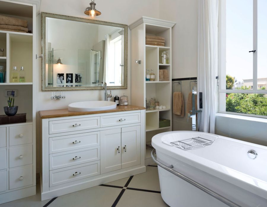 Large classic cabinetry in the bathroom
