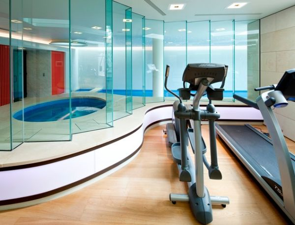 Lavish home gym with a spa and swimming pool in the basement!