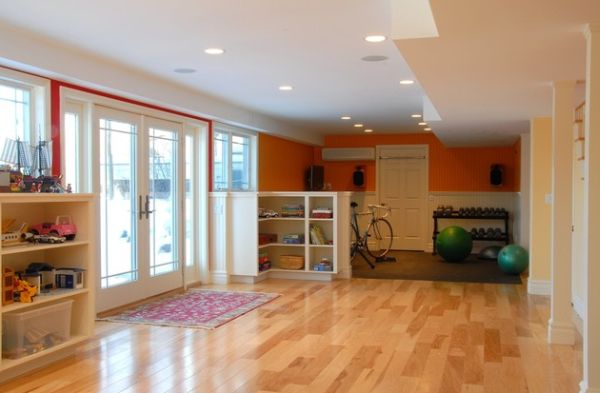 Let the home gym room double as a spacious playroom for your kids