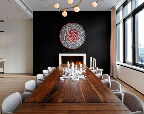 Lighting fixture complements the dining table perfectly