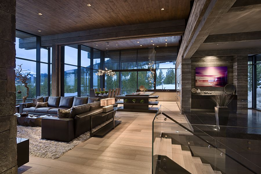 Living room of the ski retreat by Len Cotsovolos