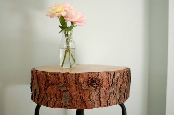 Log cross section side table