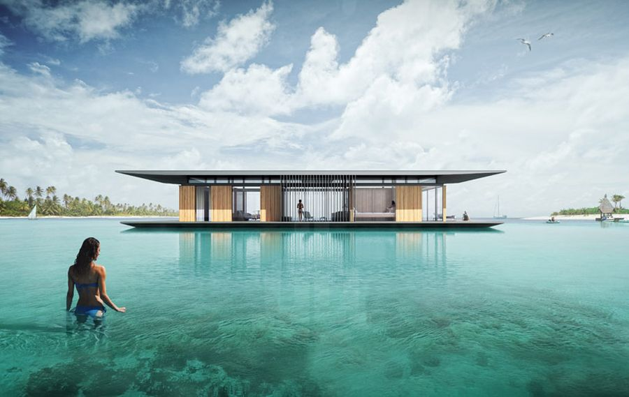 Luxurious floating house with a transportable base Sustainable Floating House Concept Delivers Magic on Water