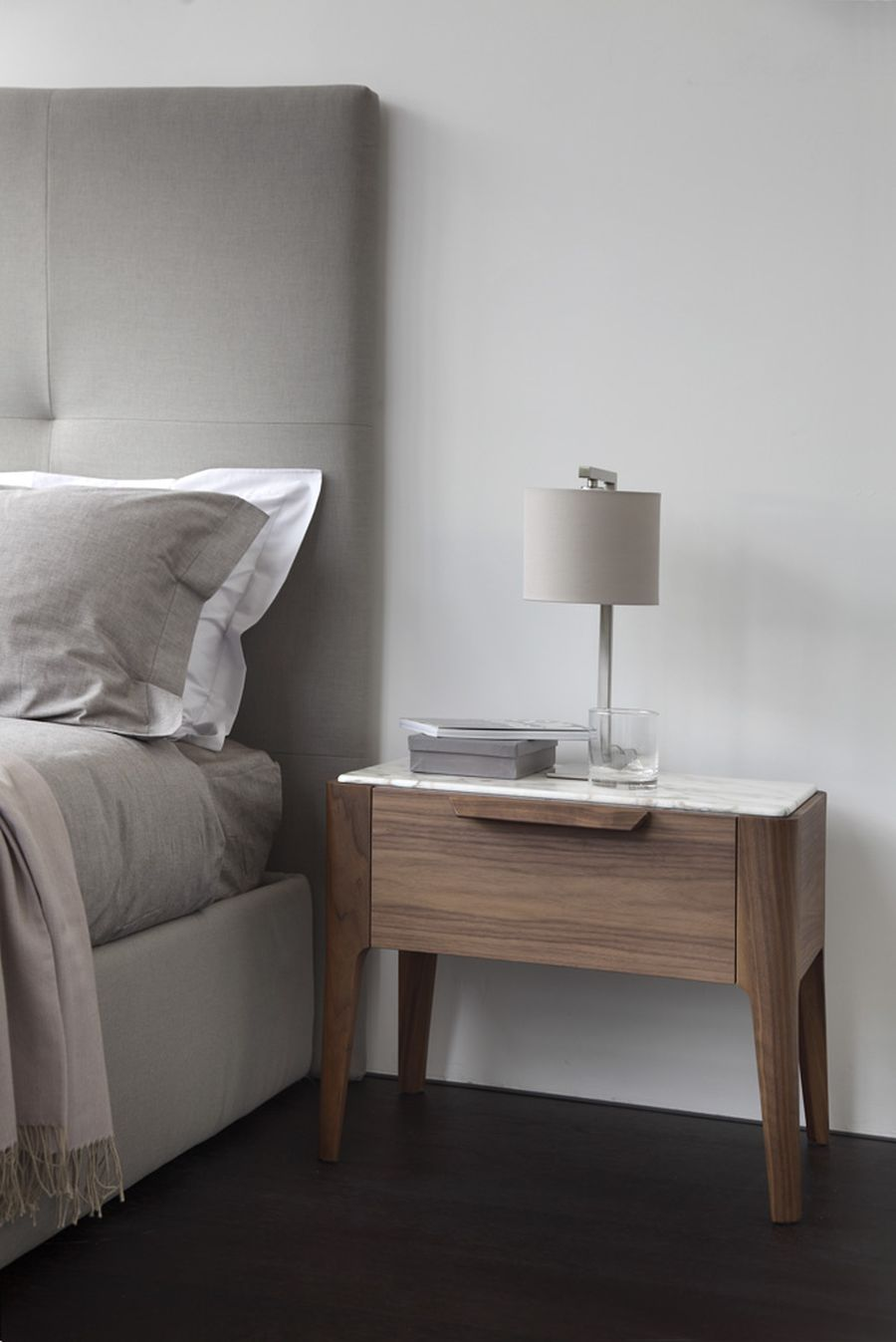 marble top of wooden bedside table ziggy night. sophisticated and modern nightstands with a scandinavian feel