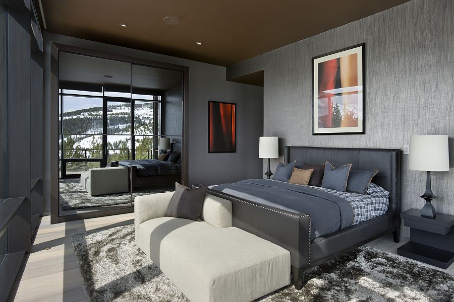 Master bedroom at the private ski resort in Montana