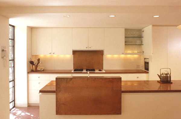 Minimalist kitchen with copper detailing