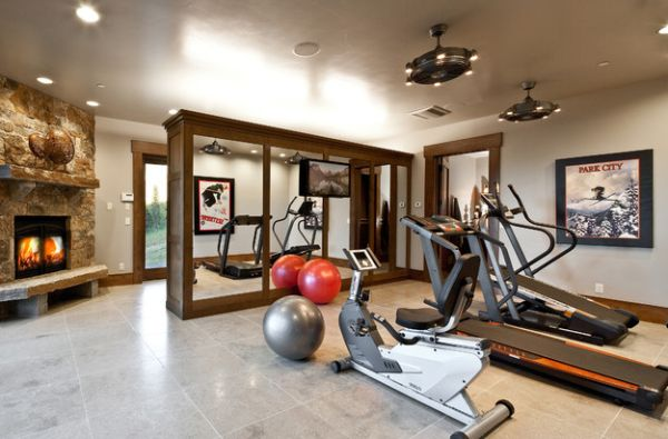 View In Gallery Mirrored Cabinets In The Homy Gym Provide Additional  Storage Space