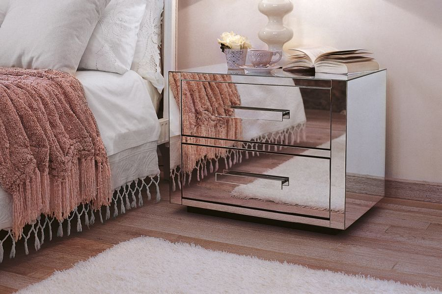 mirrored exterior of queen 2 nightstand
