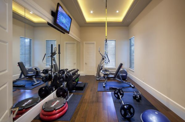 Mirrors in the home gym also help make the space visually larger