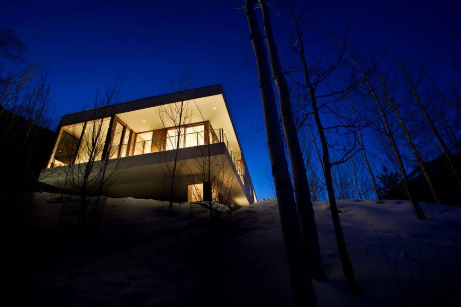 Modern Aspen getaway after sunset