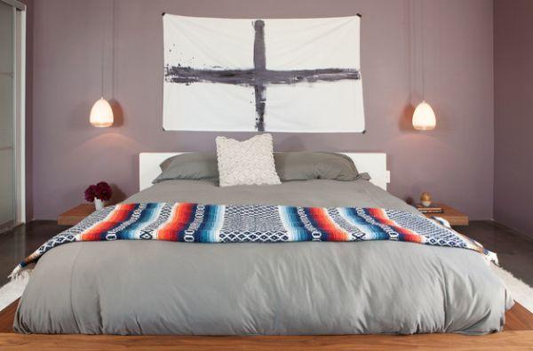 Modern bachelor pad uses dropped pendants as bedside lighting