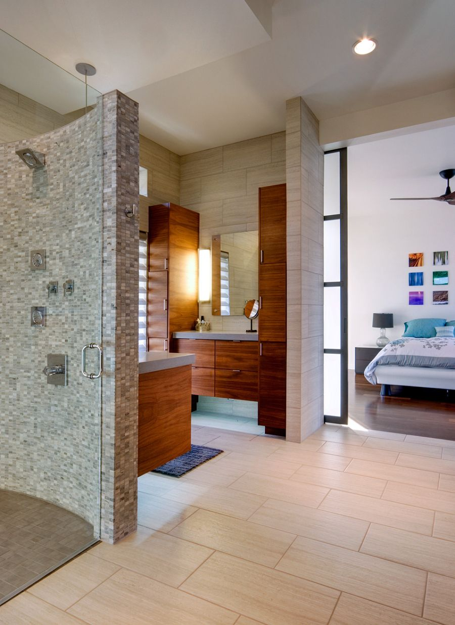 Modern bathroom next to the master bedroom