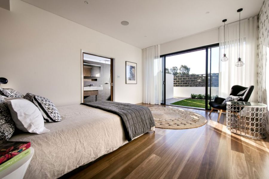 Modern bedroom with courtyard view