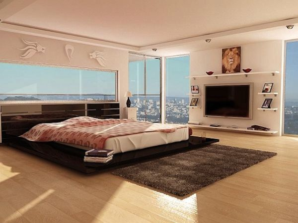 Modern bedroom with generous views