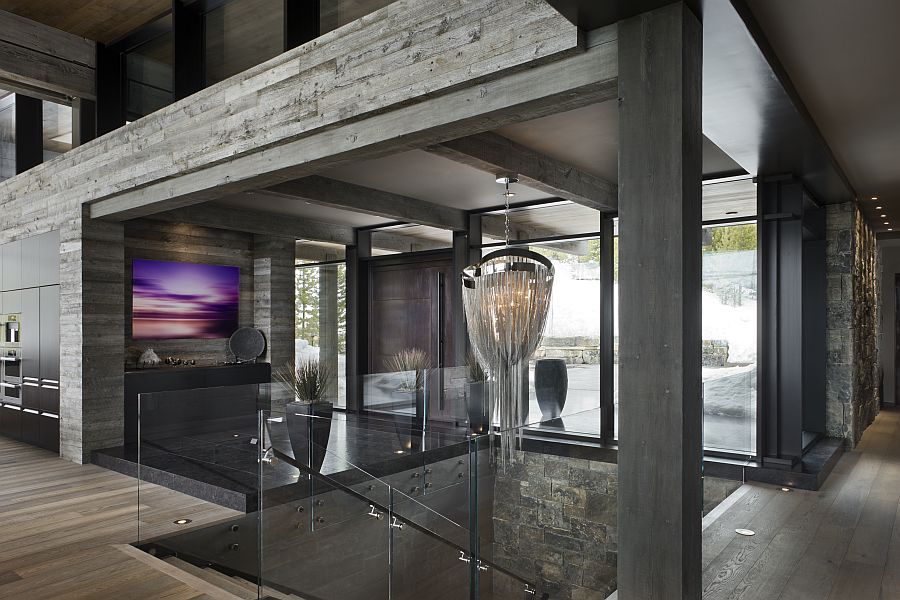 Lodge Foyer Lighting : Private luxury ski resort in montana by len cotsovolos