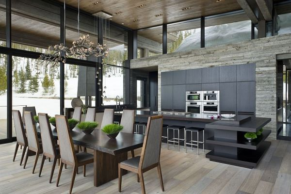 Modern kitchen and dining space inside the Montana Ski Resort
