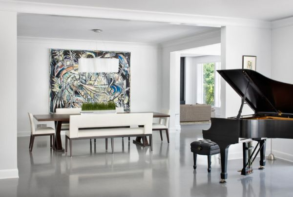 Modern living room with large art addition