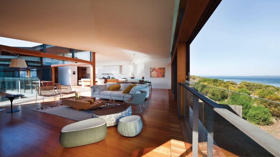 Modern living room with ocean views, Australia