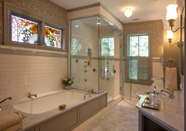 Modern steam bath installation in a Victorian style bathroom
