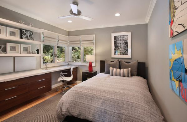 view in gallery modern teenage boys rooms in trendy muted grey - Teen Boy Room Decorating
