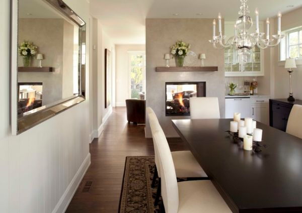 View In Gallery Modern Two Sided Fireplaces Offer Versatile Design Options
