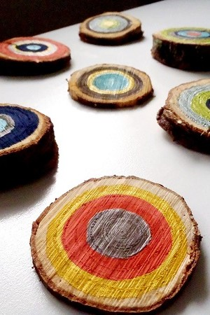 Multicolored tree ring wall art