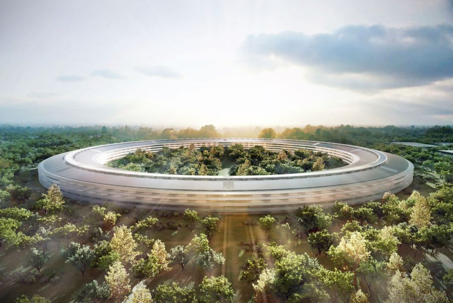 New Apple Spaceship styled campus rendering Apple's Spaceship Styled Headquarters Set To Make A Grand Visual Statement