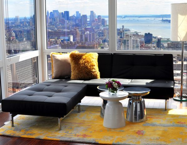 View In Gallery New York Bachelor Pad Offers A Wonderful Of The City Skyline
