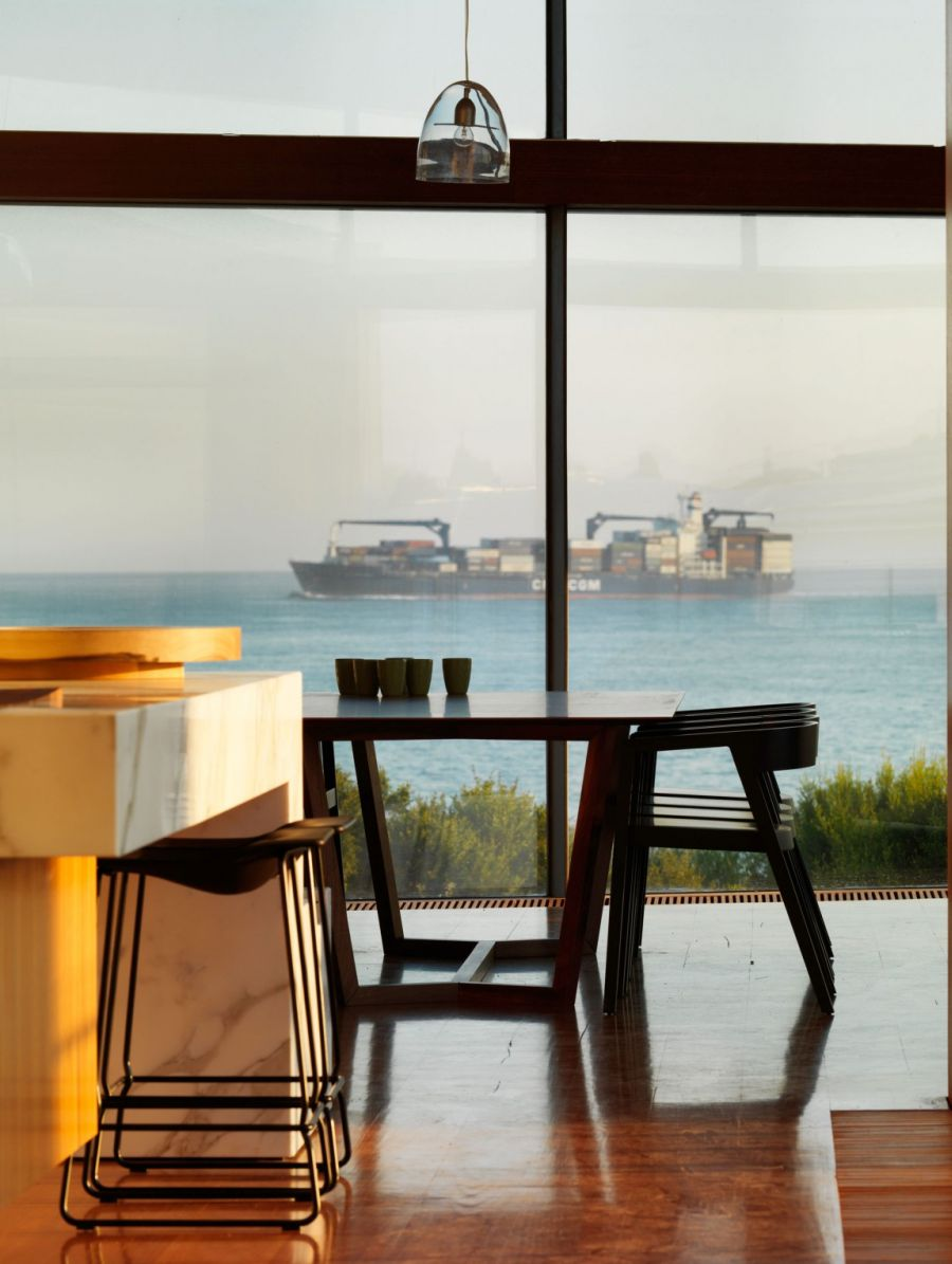 Ocean view from the kitchen of Queenscliff Residence by John Wardle Architects