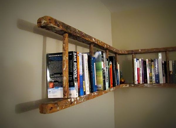 Old ladder turned bookshelf