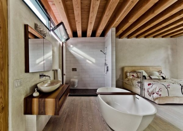 Marvelous ... Open Bathroom And Bedroom Design Ideal For A Compact Bachelor Pad Part 17