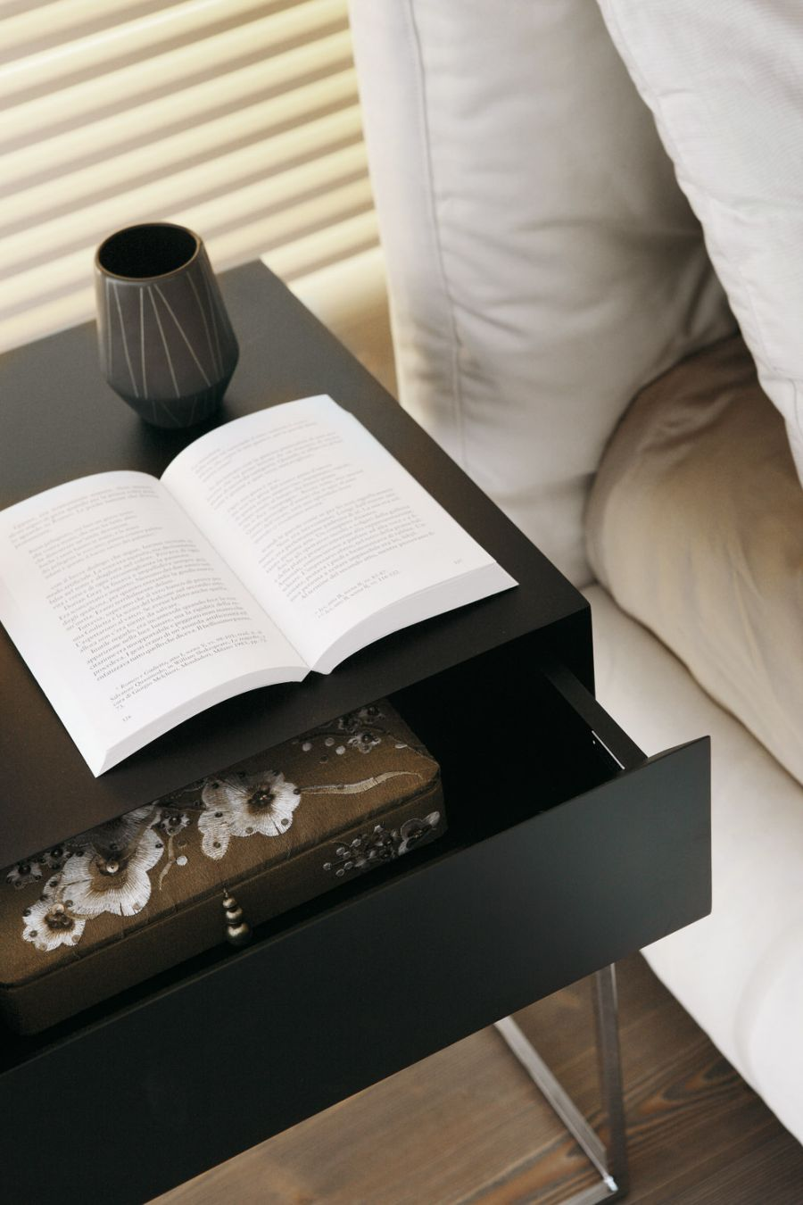 Open drawer for storage Sophisticated And Modern Nightstands With A Scandinavian Feel