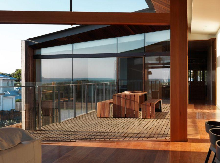 Open interior with wooden floor