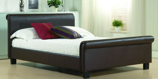 Opulent brown leather sleigh bed design