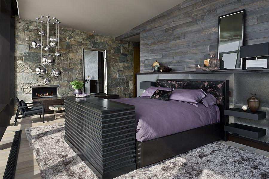 Opulent master bedroom inisde the Montana ski resort