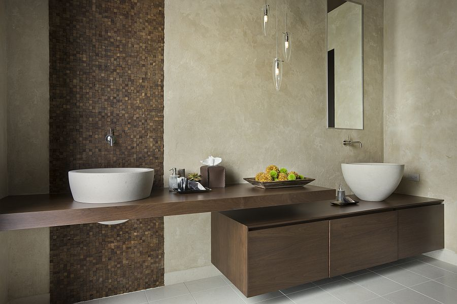 Organic textures inisde the master bathroom