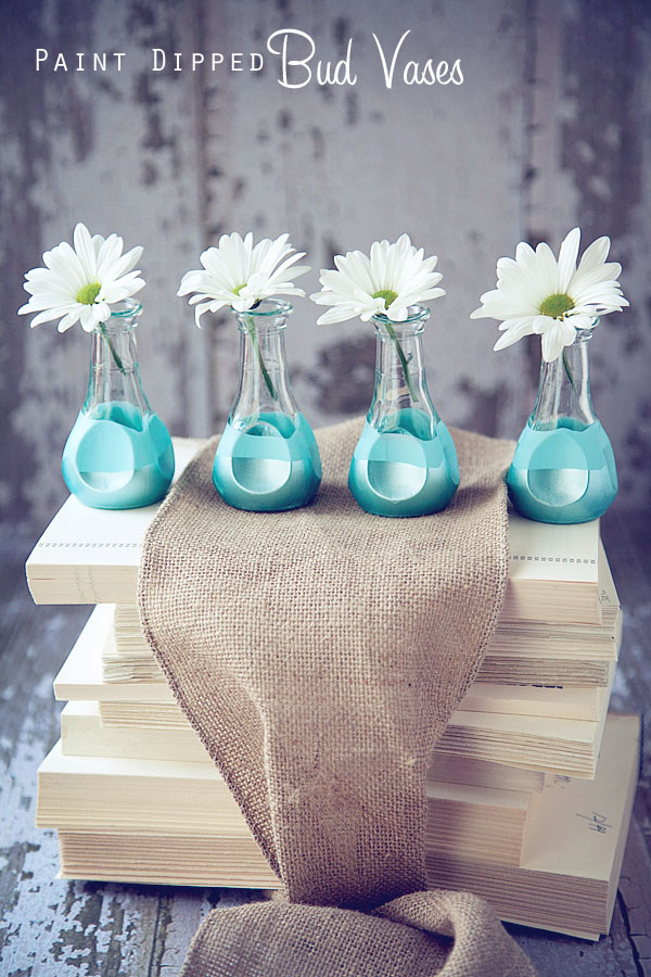 Paint Dipped Bud Vases  (1)