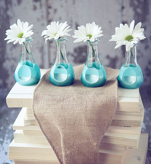 Painted Dip DIY Blue Vases