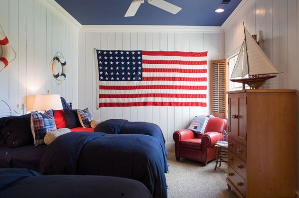 Painted ceiling accentuates the red, white and blue color scheme of the room