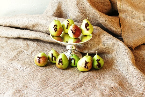 Pear typography centerpiece