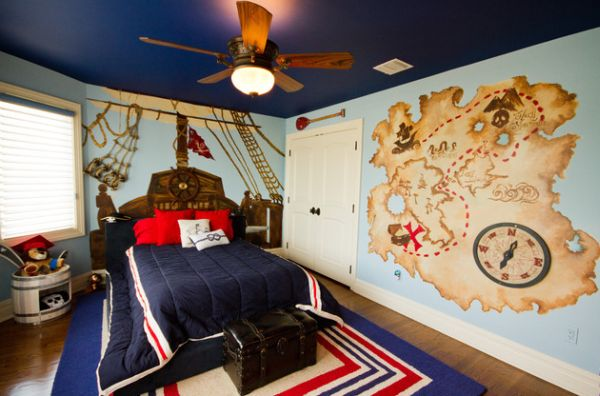 Pirate-themed bedroom with a fabulous painted ceiling