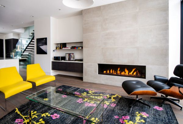 Pops of color soften the look of this stylish bachelor pad