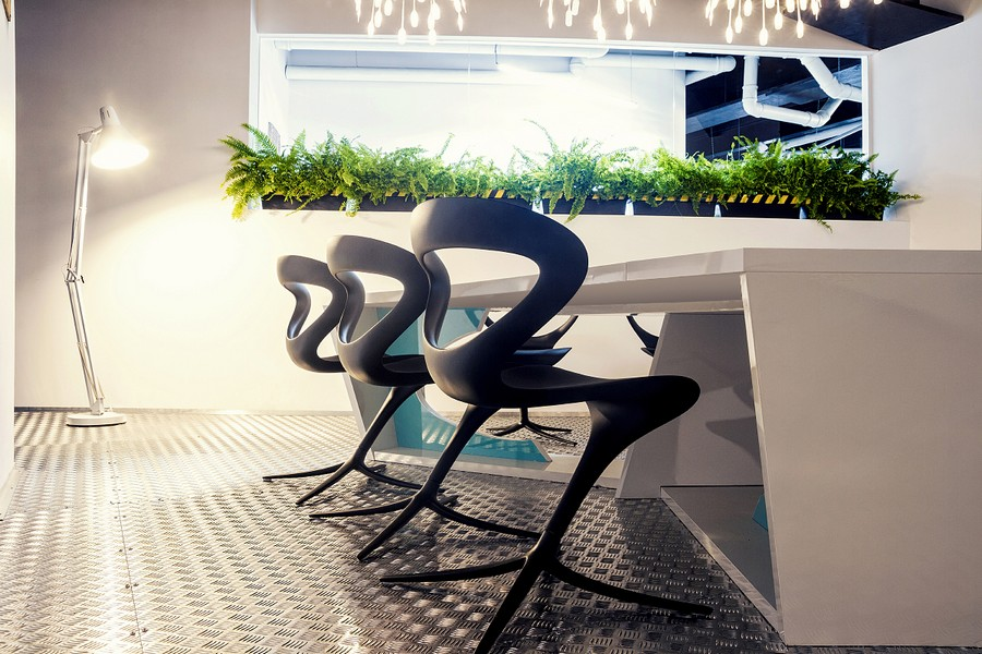 Potted plants inside a modern office design
