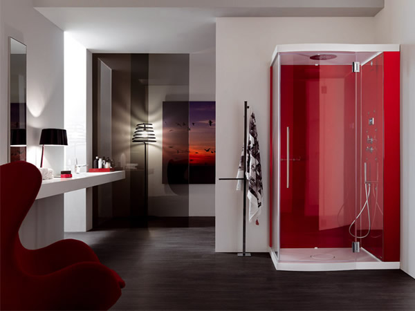 Ravishing red steam shower cabin brings the interior alive!