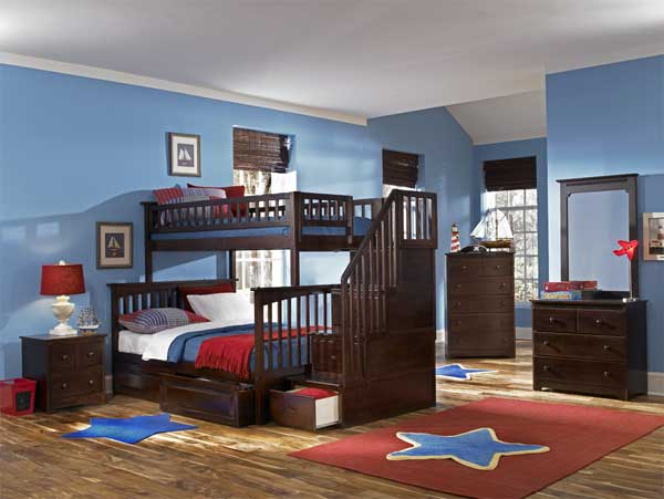 Red and blue is a popular color scheme in the kids  bedroom. 50 Modern Bunk Bed Ideas
